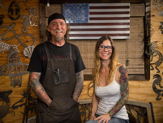 Colonial Metalworks owner Gina Capparelli (right) and