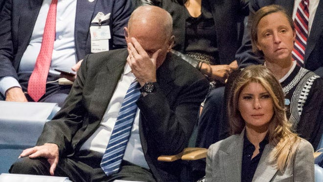 White House Chief of Staff John Kelly, left, reacts as he and first lady Melania Trump listen to U.S. President Donald Trump speak during the 72nd session of the United Nations General Assembly at U.N. headquarters, Tuesday, Sept. 19, 2017. (AP Photo/Mary Altaffer) ORG XMIT: UNMA122