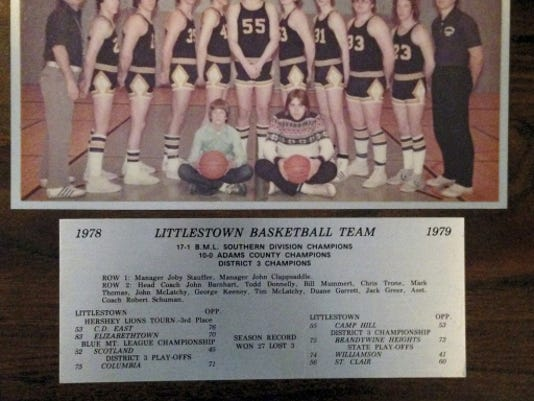 The Littlestown boys' basketball team won the District 3 Class A championship in 1979.