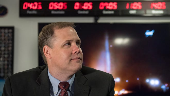 A handout photo made available by NASA on May 5, 2018, showing NASA Administrator Jim Bridenstine watching the launch of NASA's InSight spacecraft on a United Launch Alliance (ULA) Atlas-V rocket on May 5, 2018 at NASA headquarters in Washington, USA. InSight, short for Interior Exploration using Seismic Investigations, Geodesy and Heat Transport, is a Mars lander designed to study the 'inner space' of Mars: its crust, mantle, and core.