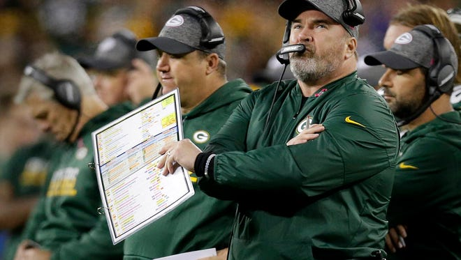 Packers coach Mike McCarthy shows his concern for the offense after Green Bay Packers tight end Richard Rodgers drops a pass in the end zone in the first quarter during a 23-16 win over the  New York Giants at Lambeau Field on, October 9, 2016.