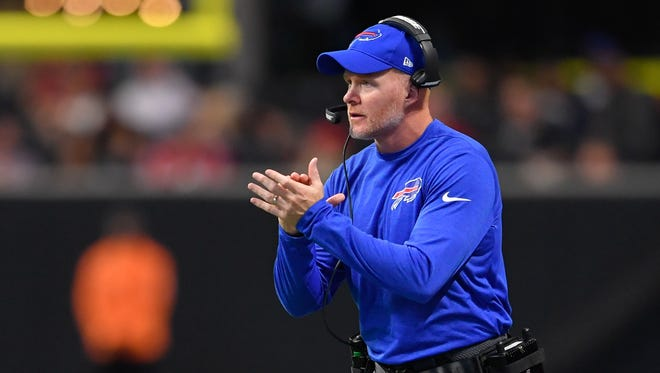 Buffalo Bills head coach Sean McDermott reacts during the game against the Atlanta Falcons during the first half at Mercedes-Benz Stadium. Mandatory Credit: Dale Zanine-USA TODAY Sports