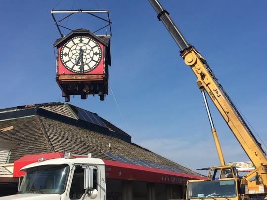 The Hour Time clock, a Lafayette landmark since 1979, was removed in August 2016 from the top of the restaurant at Interstate 65 and South Street.