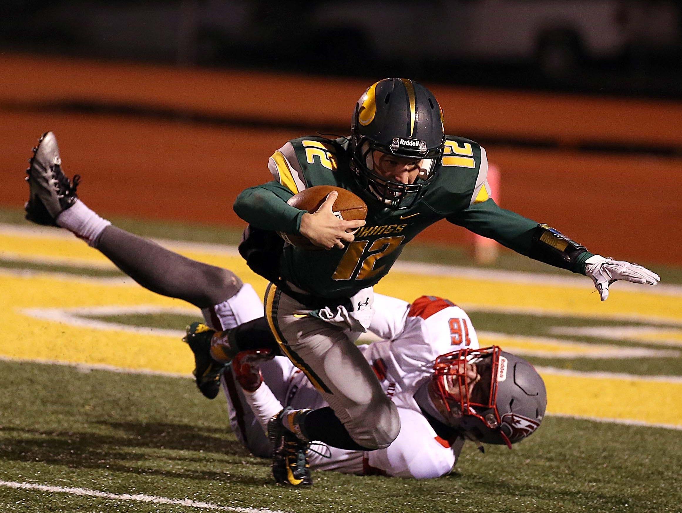 Nixa's Chase Allen sacks Parkview quarterback Nicholas Cole in Springfield on October 30, 2015.
