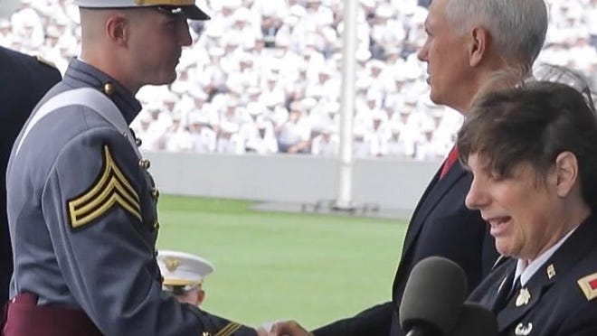 Harrison Smith and Vice President Mike Pence at Harrison's West Point graduation in 2019.
