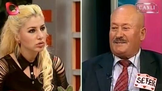 """Sefer Calinak, 62, shocks the host of a Turkish TV dating show """"Luck of the Draw"""" on Flash TV when he reveals he had murdered his first wife and years later killed a lover."""