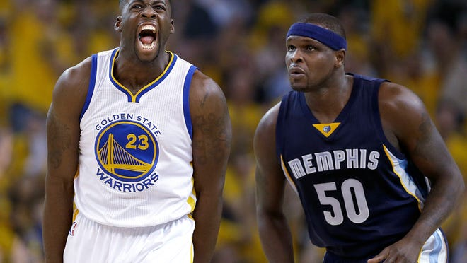 Golden State Warriors forward Draymond Green, right, celebrates a 3-pointer in front of Memphis Grizzlies forward Zach Randolph during Game 1 of their Western Conference semifinal series. Green starred at MSU from 2008-12. Randolph played one season for the Spartans 14 years ago.