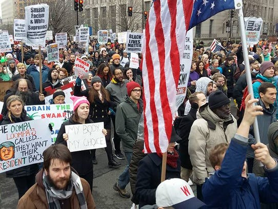 Protesters march in Washington D.C. on Friday to protest