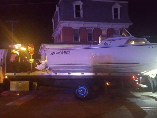 Police found a boat in the middle of the road in Windsor