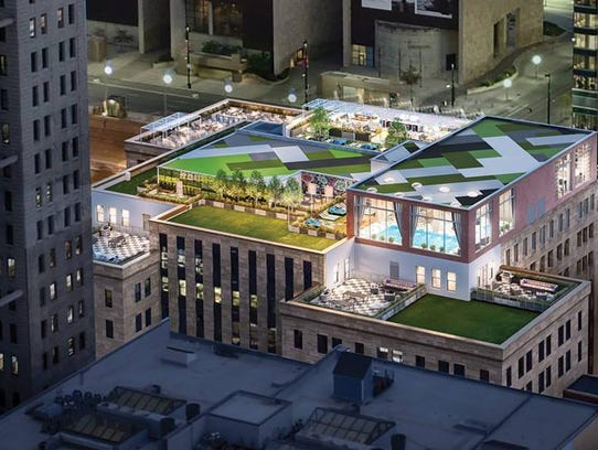 An artist's rendering of the rooftop of the City Club