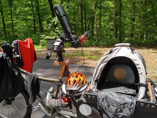 The Surly Big with all its gear, including a telescope