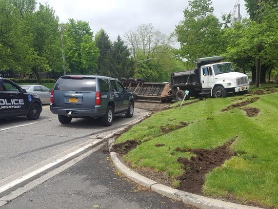 Adump truck rolled over Thursday, May 17, 2018, at