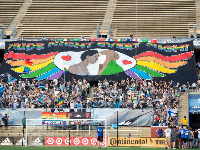 June 29, 2018: Minnesota United fans unveil their new