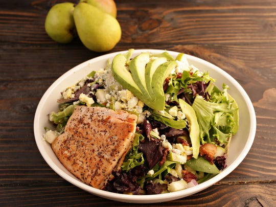The pear cobb salad with salmon from Perfect Pear Bistro