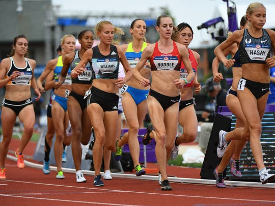 Molly Huddle (middle) competes during the women's 5,000 meters first round heats in U.S. Olympic Team Trials at Hayward Field in Eugene, Oregon.