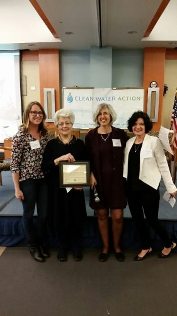 From left to right, Jenny Vickers, Clean Water Action communications manager; Louise Usechak; Amy Goldsmith, Clean Water Action state director; and Janet Tauro, Clean Water Action board chair