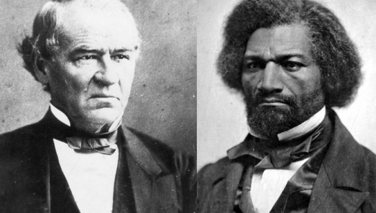 Frederick Douglass, right, met with President Andrew