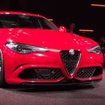 An updated version of the Alfa Romeo logo that was unveiled June, 24 2015 in Milan, Italy.