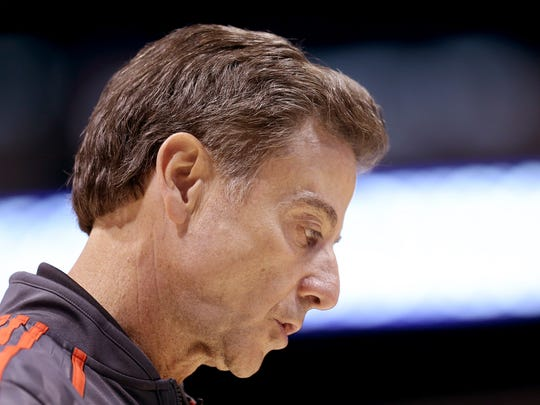 Louisville head coach Rick Pitino during practice. The four team in the NCAA Division 1 Men's Basketball Championship Midwest Regional round practiced Thursday afternoon at Lucas Oil Stadium.