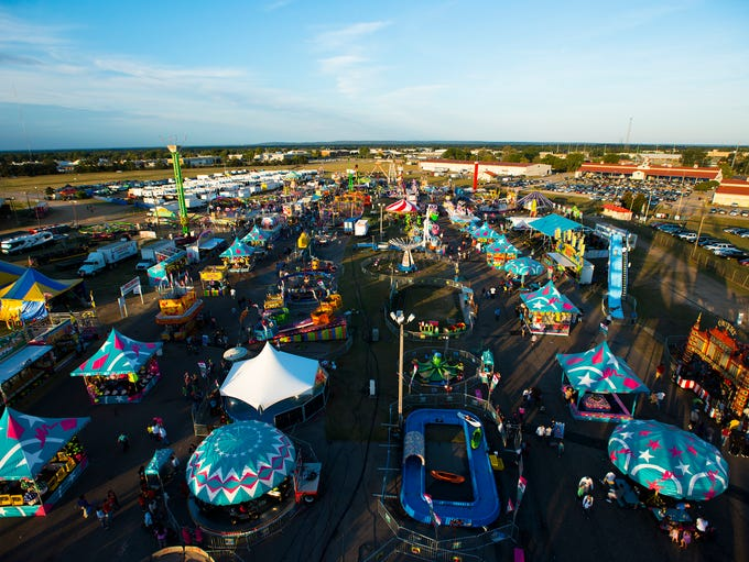 A view of the Alabama National Fair in Montgomery, Ala., on Monday, Oct. 6, 2014, from the ferris wheel. The fair runs until Monday, Oct. 13.