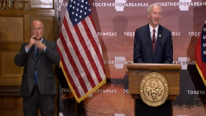 Gov. Asa Hutchinson is seen Monday, July 27, 2020, during his daily press conference on the COVID-19 coronavirus pandemic.