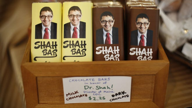 Shah Bars are displayed at Wilbur's Chocolate Confections, Tuesday, June 23, 2020, in Freeport, Maine. The Maine candy store company named the bar in honor of Dr. Nirav Shah, the state's Center for Disease Control director. Shah is universally praised for his calm, reassuring demeanor during his daily pandemic briefings.