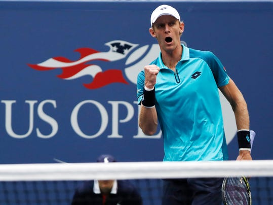 FILE - In this Sept. 10, 2017, file photo, Kevin Anderson, of South Africa, reacts after scoring a point against Rafael Nadal, of Spain, during the men's singles final of the U.S. Open tennis tournament in New York. New York no longer has to wait for the U.S. Open for top-level tennis. The New York Open debuts next week at Nassau Coliseum, a new home for a tournament that has attracted many of the best American men's players and hopes it can someday get the best in the world.(AP Photo/Andres Kudacki, File)