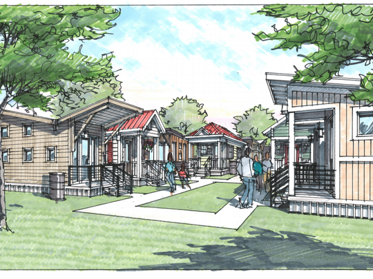 A rendering shows the Village at Glencliff planned on the campus of Glencliff United Methodist Church.