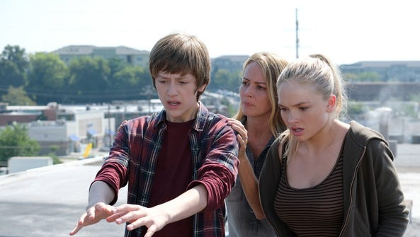 Percy Hynes White, from left, Amy Acker and Natalie