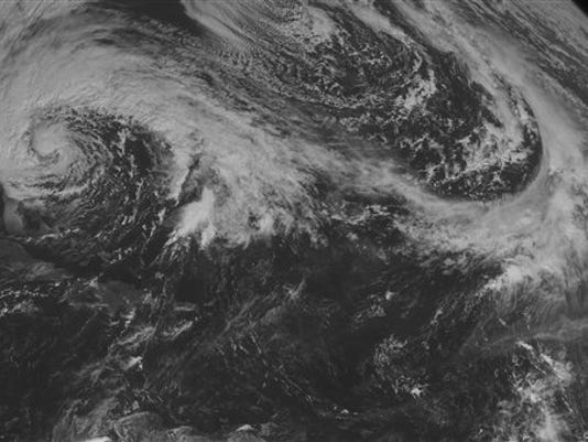 This NOAA satellite image taken Saturday, October 27, 2012 at 10:45 AM EDT shows Hurricane Sandy along the eastern United States coastline tracking toward the north with maximum sustained winds of 75 mph. No other tropical disturbances are in the Atlantic or Caribbean Sea. (AP PHOTO/WEATHER UNDERGROUND)