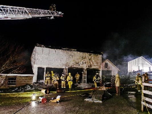 A picture from a Friday night barn fire in Reading Township. No one was injured in the fire, but locals were out in force online to help work out what was going on.
