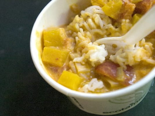 The Pumpkin and Leek Curry, made by Andrew Barnes at The Busy Bee at Central Market, sells for $3.