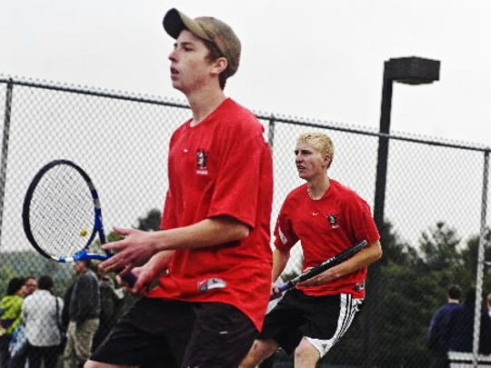 Susquehannock's Kaltrin Bullaj, left, will have to find a new doubles partner to replace the graduated Zach Hanson, right, if he chooses to play that in the postseason. (DAILY RECORD/SUNDAY NEWS -- FILE)