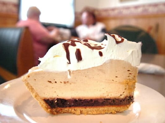 Chocolate-peanut-butter pie is one of the popular desserts at Mary Jane s Restaurant in West Manchester Township. Co-owners Diana Rhodes and Danielle Kale bake cakes and pies throughout the week.