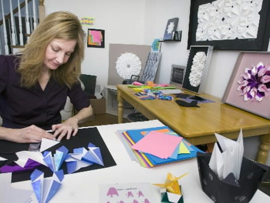 Christine Kirk's works on paper sculpture at her home in Spring Garden Township in this January 2010 file photo.