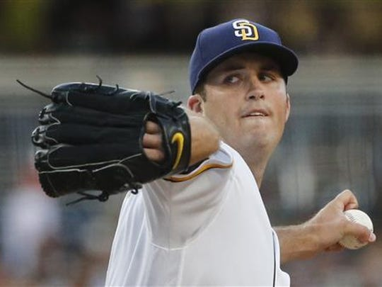 San Diego Padres starting pitcher Drew Pomeranz works against the New York Yankees during the first inning of a baseball game Saturday, July 2, 2016, in San Diego. (AP Photo/Lenny Ignelzi)