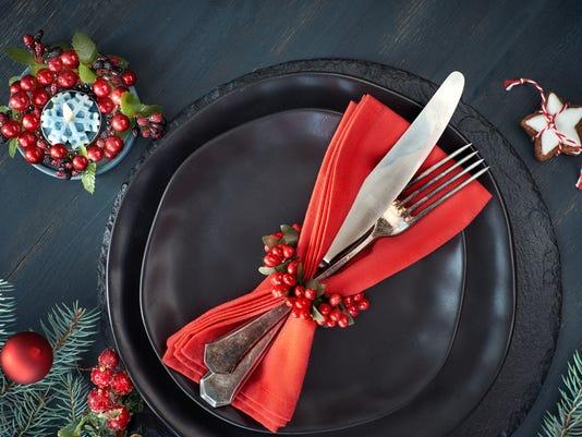 Christmas menu concept on dark background