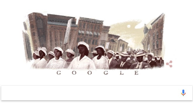 The Google logo honoring the 100th anniversary of the Silent Parade in New York City.