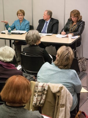 Wayne Mayor Susan Rowe talks about the horrors of municipal budgeting with the loss of state revenue sharing. Wayne County Commissioner Glenn Anderson and Van Buren Township trustee Sherry Frazier had their own tales of woe.