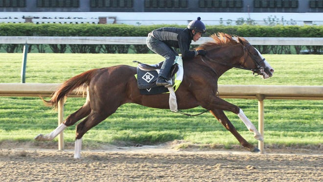 Free Drop Billy, trained by Dale Romans, breezes five furlongs at Churchill Downs on April 21.