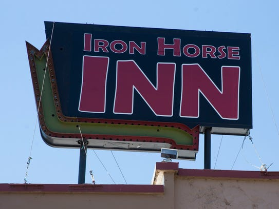 Exterior sign of the Iron Horse Inn in Cottonwood,