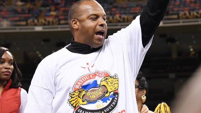 In this file photo, Grambling coach Broderick Fobbs celebrates the Tigers' win over Southern in the annual Bayou Classic in New Orleans.
