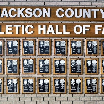 Inside the Justice Center in Sylva are 42 plaques of