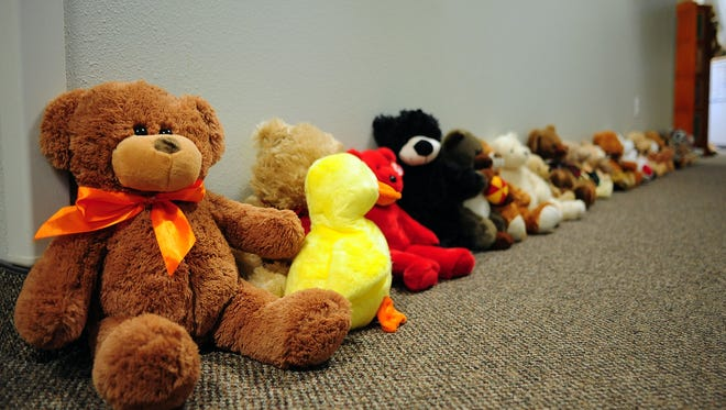 Teddy bears line the hallway that children get to take home at Liberty House. The nonprofit will be pitching to build a child-friendly garden in between their two buildings to philanthropists at Center for Community Innovation's first Share Tank.