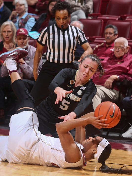 Florida State forward Ivey Slaughter (23) passes the ball after a steal as Wake Forest forward Clarisse Berranger (5) tries to get it back in the fourth quarter of an NCAA college basketball game in Tallahassee, Fla., Thursday, Feb. 9, 2017. (AP Photo/Phil Sears)