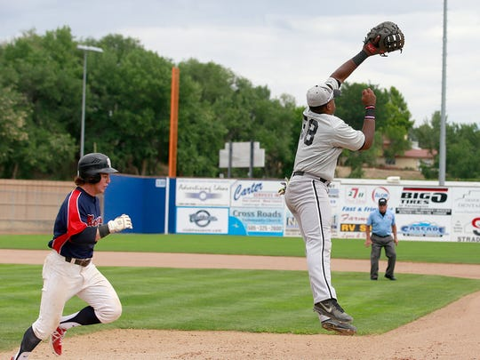 Southern California Renegades' Nathan Webb makes it past Colton Nighthawks' Jason Wallace on Tuesday in Game 13 of the Connie Mack World Series at Ricketts Park in Farmington.