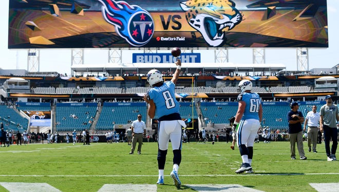 Tennessee Titans quarterback Marcus Mariota (8) warms up before the game against the Jaguars at EverBank Field Sunday, Sept. 17, 2017 in Jacksonville , Fl.