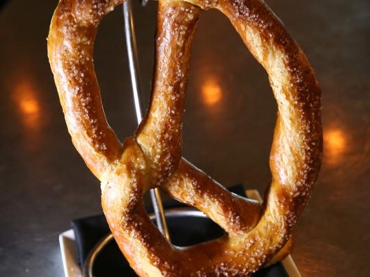 The Big One, a one pound soft bavarian pretzel, at Flight West.