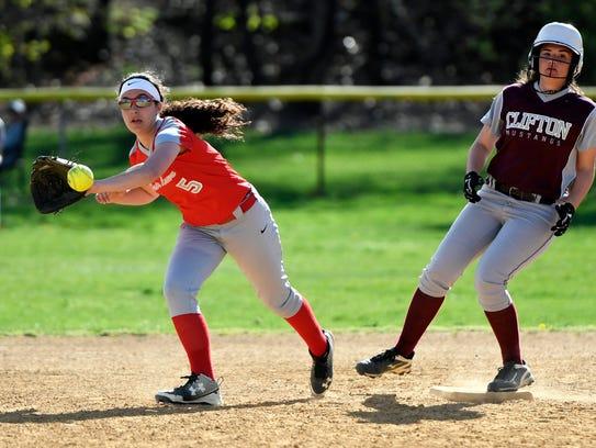 Fair Lawn second baseman Danielle Jurcevic (5) catches