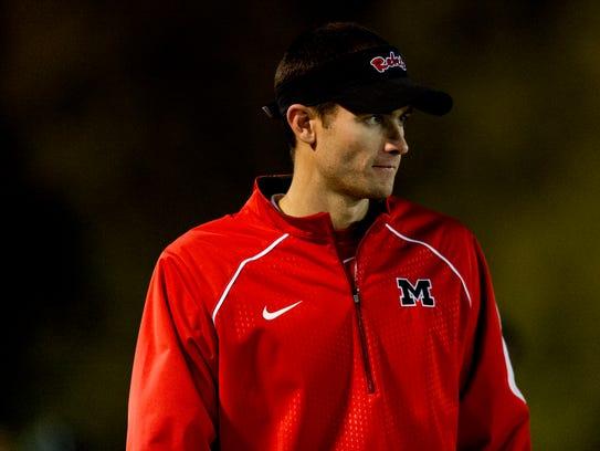 Maryville's Head Coach Derek Hunt walks along the sideline